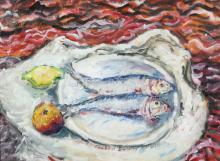 Fish on bowl