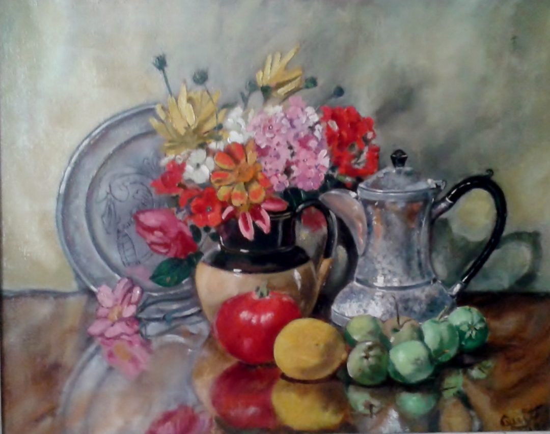 Still life with silver coffee pot