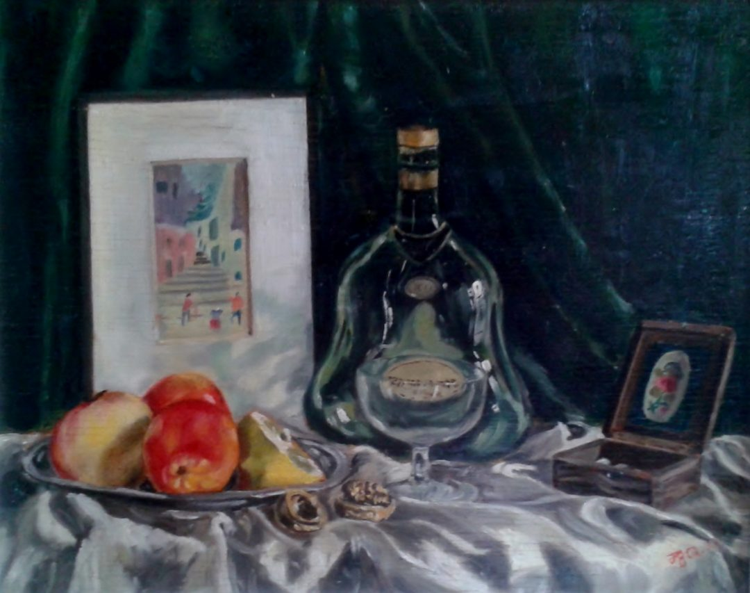 Still life with armagnac and apples