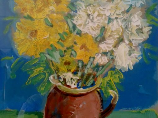 Still life with flowers in earthenware jug