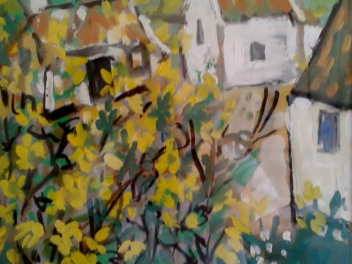 Houses with yellow blossom
