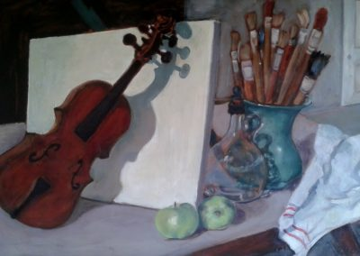 Still life with violin and paint brushes