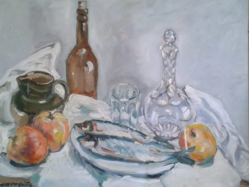 Still life with fish and decanter