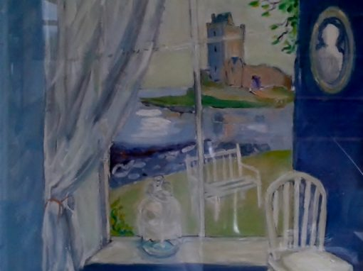 Dunguaire castle blue room view