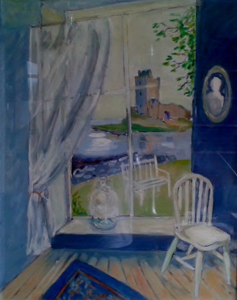 Dunguaire castle blue room view