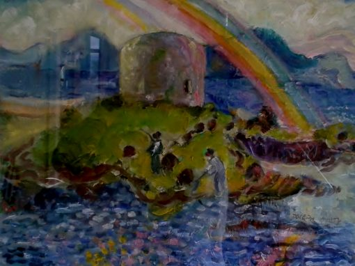Martello tower with rainbow , Aughinish, County Galway