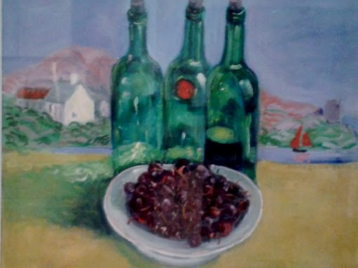 Still life with port bottles