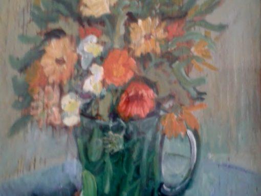 Still life with green glass jug