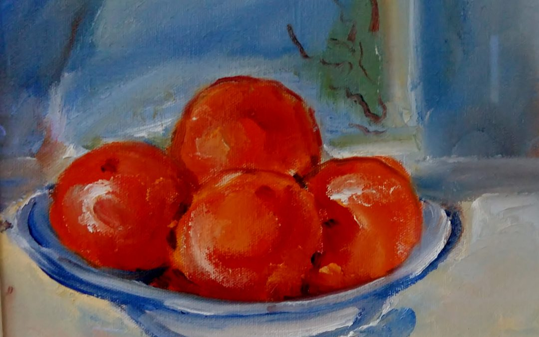 Oranges on plate, after Cezanne