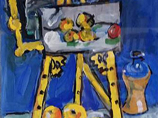 Still life with yellow easel