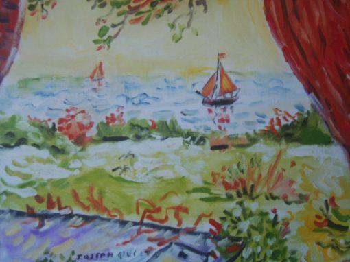 Galway hookers from the artist's window, Doorus, Kinvara