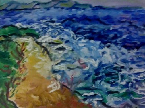 Seashore with breaking waves