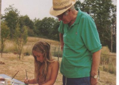 Joe painting with Alice, France