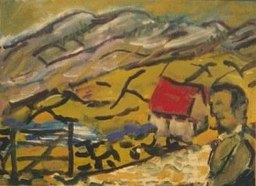 Red roof, Burren, sketch