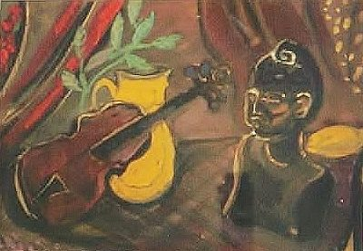 Still life with violin and bust