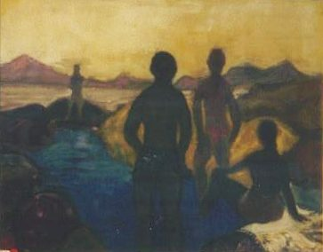 Bathers, blue pool