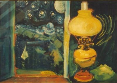 Night scene, oil lamp