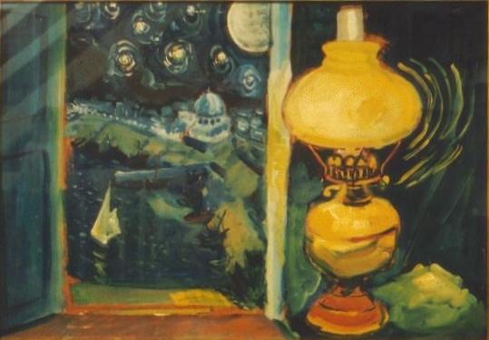 Night scene, oil lamp