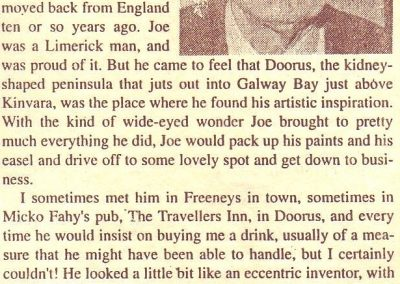 Jeff O'Connell on Joe Quilty, Galway Advertiser newspaper